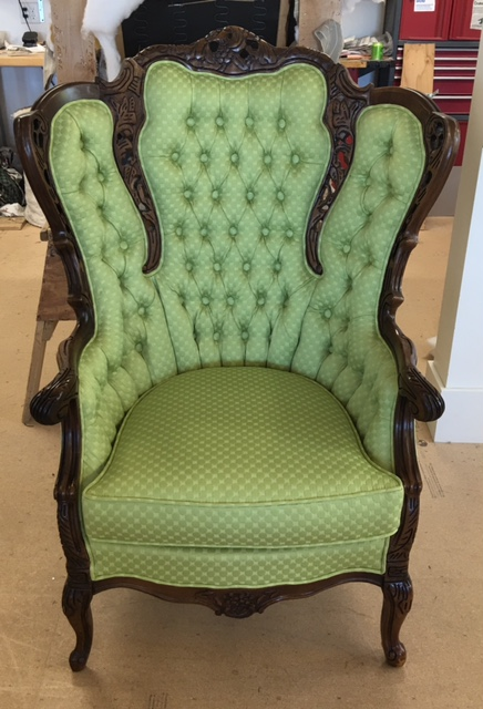 These hand carved antique chairs are from the early 1900's. The owner  decided to go with a very modern apple green pattern to breathe new life  into these ... - Antique Chairs Recovered In Green Geometric Circles. Deep Discount